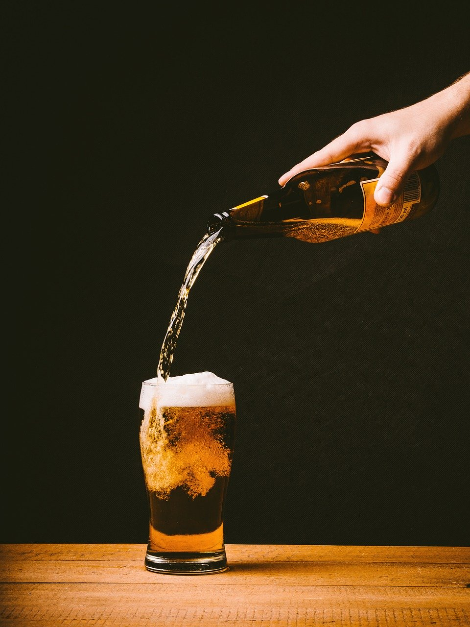 beer, pouring, glass